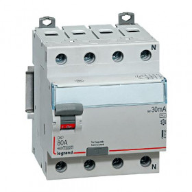 "411734 Выключатель диф.тока(УЗО) 4-полюса 63А 500мА тип ""AC"" (Legrand DX3 DX3) N справа"