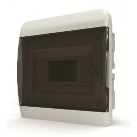 01-02-001 Щит встраиваеный 8 мод. IP40, прозрачная черная дверца BVK 40-08-1 (Tekfor серия B)
