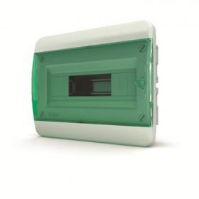 01-02-002 Щит встраиваеный 8 мод. IP40, прозрачная зеленая дверца BVZ 40-08-1 (Tekfor серия B)