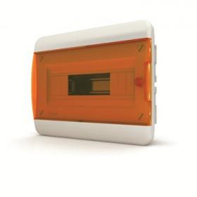 01-02-003 Щит встраиваеный 8 мод. IP40, прозрачная оранжевая дверца BVO 40-08-1 (Tekfor серия B)