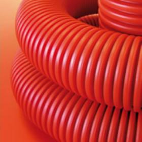 121911 Гофрированная труба двустенная гибкая d=110мм с протяжкой и соедин.муфтой, бухта 50м, КРАСНЫЙ
