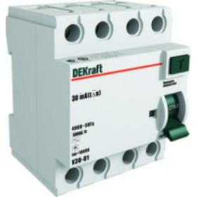 14088DEK Выключатель диф.тока(УЗО) 4-полюса 63А 100мА AC 6кА (УЗО03-4Р-063А-100) DEKraft