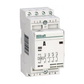 18060DEK Модульный контактор 4НО 20А 230В, МК-103-020A-230B-40 DEKraft