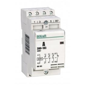 18061DEK Модульный контактор 3НО+1НЗ 20А 230В, МК-103-020A-230B-31 DEKraft