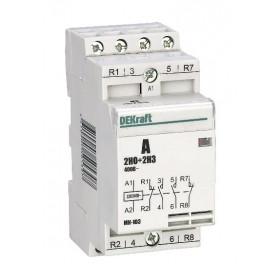 18062DEK Модульный контактор 2НО+2НЗ 20А 230В, МК-103-020A-230B-22 DEKraft
