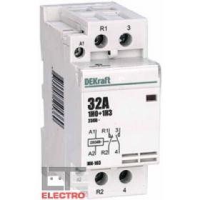 18072DEK Модульный контактор 1НО+1НЗ 32А 230В, МК-103-032A-230B-11 DEKraft