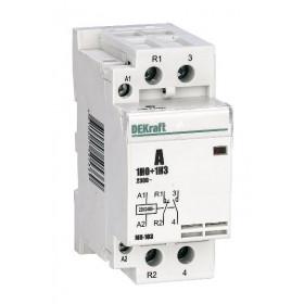 18079DEK Модульный контактор 1НО+1НЗ 40А 230В, МК-103-040A-230B-11 DEKraft