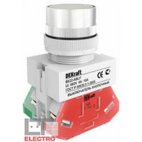 25011DEK Выключатель кнопочный потайной без индикации 220В(ВK-22-ABLF-WHI) БЕЛЫЙ
