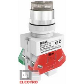 25025DEK Выключатель кнопочный выступающий c индикацией LED 220В(ВK-22-ABLFP-WHI-LED) БЕЛЫЙ