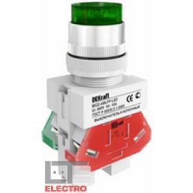25026DEK Выключатель кнопочный выступающий c индикацией LED 220В(ВK-22-ABLFP-GRN-LED) ЗЕЛЕНЫЙ