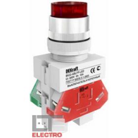 25027DEK Выключатель кнопочный выступающий c индикацией LED 220В(ВK-22-ABLFP-RED-LED) КРАСНЫЙ