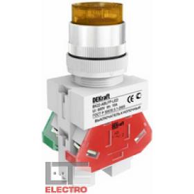 25028DEK Выключатель кнопочный выступающий c индикацией LED 220В(ВK-22-ABLFP-YEL-LED) ЖЕЛТЫЙ