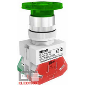 25029DEK Выключатель кнопочный грибовидный c индикацией неон 220В(ВK-22-AELA-GRN-NEO) ЗЕЛЕНЫЙ