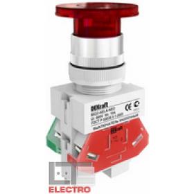 25030DEK Выключатель кнопочный грибовидный c индикацией неон 220В(ВK-22-AELA-RED-NEO) КРАСНЫЙ