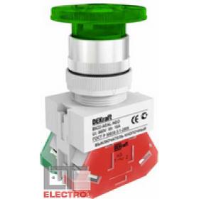 25033DEK Выключатель кнопочный грибовидный с фиксацией с инд. неон 220В(ВK-22-AEAL-GRN-NEO) ЗЕЛЕНЫЙ