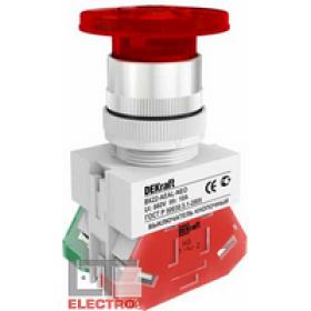 25034DEK Выключатель кнопочный грибовидный с фиксацией с инд. неон 220В(ВK-22-AEAL-RED-NEO) КРАСНЫЙ