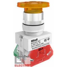 25035DEK Выключатель кнопочный грибовидный с фиксацией с инд. неон 220В(ВK-22-AEAL-YEL-NEO) ЖЕЛТЫЙ