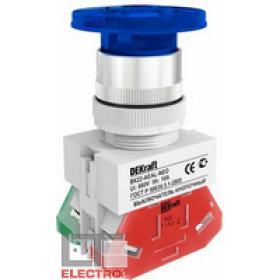 25036DEK Выключатель кнопочный грибовидный с фиксацией с инд. неон 220В(ВK-22-AEAL-YEL-BLU) СИНИЙ