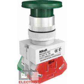 25037DEK Выключатель кнопочный грибовидный с фиксацией поворотный  220В(ВK-22-AE-GRN) ЗЕЛЕНЫЙ