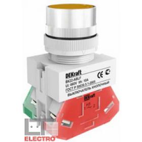 25045DEK Выключатель кнопочный потайной без индикации 220В(ВK-30-ABLF-YEL) ЖЕЛТЫЙ