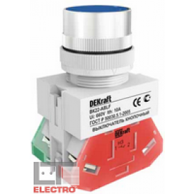 25046DEK Выключатель кнопочный потайной без индикации 220В(ВK-30-ABLF-BLU) СИНИЙ
