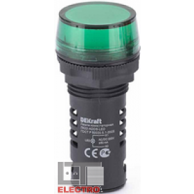 25118DEK Лампа коммутационная светодиод 220В AC/DC(ЛК22-ADDS-GRN-LED-220) ЗЕЛЕНЫЙ