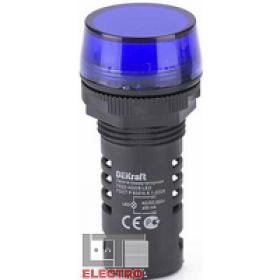25122DEK Лампа коммутационная светодиод 220В AC/DC(ЛК22-ADDS-WHI-BLU-220) СИНИЙ