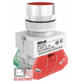 25123DEK Выключатель кнопочный потайной с фиксацией без индикации 220В(ВK-22-ABF-RED) КРАСНЫЙ