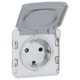 Розетка Legrand Plexo IP55 электрическая с заземлением серая винт 69571