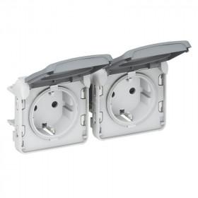 Розетка Plexo IP55 влагозащищенная электрическая двойная с крышкой клеммы Legrand 69576 Серый
