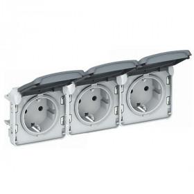 69578 Розетка Plexo IP55 электрическая с крышкой тройная влагозащищенная клеммы Legrand Серый