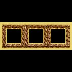 FD01293OR Рамка 3-ая(Crystal De Luxe Art Swarovski), Real Gold