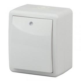 Выключатель IP54 одноклавишный с подсветкой Эра Эксперт Белый 11-1402-01 (Б0020671)