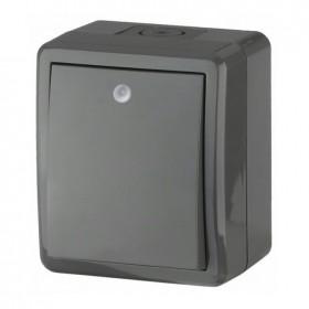 Выключатель IP54 одноклавишный с подсветкой Эра Эксперт Серый 11-1402-03 (Б0020672)