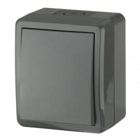 Выключатель IP54 одноклавишный с 2-х мест (переключатель) Эра Эксперт Серый 11-1403-03 (Б0020674)
