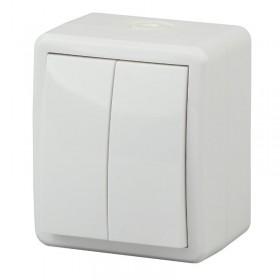 Выключатель IP54 двухклавишный Эра Эксперт Белый 11-1404-01 (Б0020675)