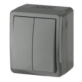 Выключатель IP54 двухклавишный Эра Эксперт Серый 11-1404-03 (Б0020676)