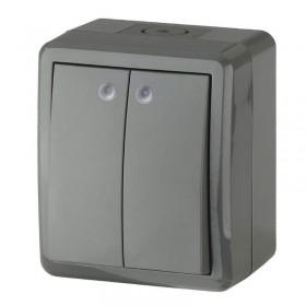 Выключатель IP54 двухклавишный с подсветкой Эра Эксперт Серый 11-1405-03 (Б0020678)