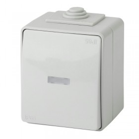 Выключатель IP65 одноклавишный с подсветкой Эра Эксперт серый 11-1602-03 (Б0035974)