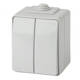 Выключатель IP65 двухклавишный Эра Эксперт серый 11-1604-03 (Б0035976)