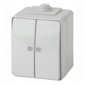 Выключатель IP65 двухклавишный с подсветкой Эра Эксперт серый 11-1605-03 (Б0035977)