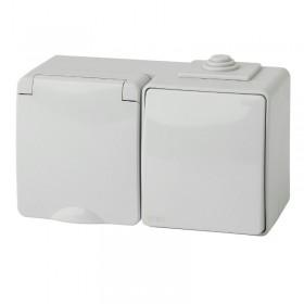 11-7601-03 Блок розетка с выключателем IP65 горизонтальный Эра Эксперт серый Б0035993