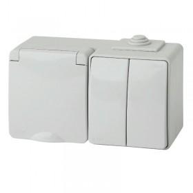 11-7602-03 Блок розетка с выключателем IP65 двухклавишным горизонтальный IP65 Эра Эксперт серый Б0035994
