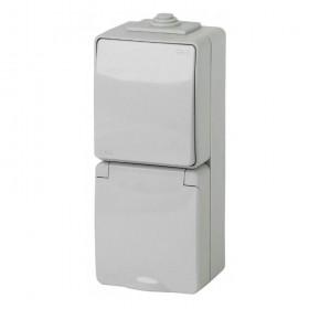 11-7607-03 Блок розетка с выключателем IP65 вертильный Эра Эксперт серый Б0035998