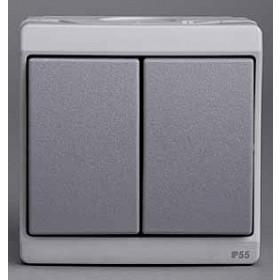 Выключатель Schneider Electric Mureva Серый ENN35722 IP55 двухклавишный