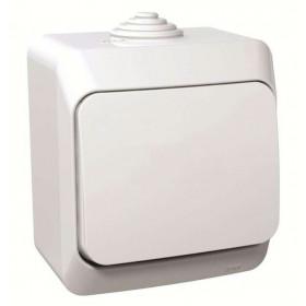 BA10-041B Выключатель одноклавишный IP44 Этюд Белый