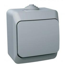 BA10-041C Выключатель одноклавишный IP44 Этюд Серый