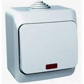 BA10-045C Выключатель одноклавишный с подсветкой IP44 Этюд Schneider Electric Серый