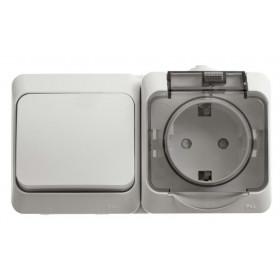 BPA16-241B Блок розетка электрическая со шторками и выключатель одноклавишный IP44 Этюд Белый