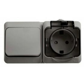 BPA16-241C Блок розетка электрическая со шторками и выключатель одноклавишный IP44 Этюд Серый